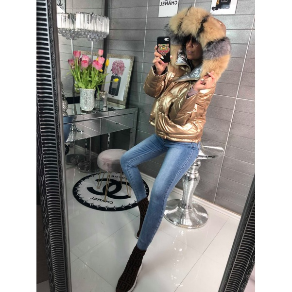 Luxusní péřová bunda s pravým kožíškem - GOLD
