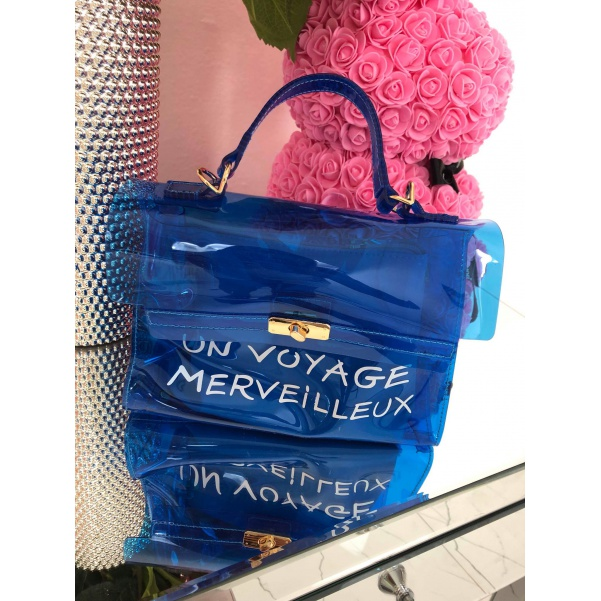 TOP kabelka s nápisy modrá
