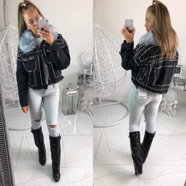 Jeans bunda se cvoky - černá
