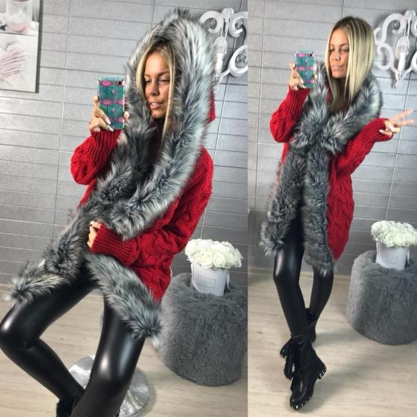 Luxusní svetřík s kožešinkou RED