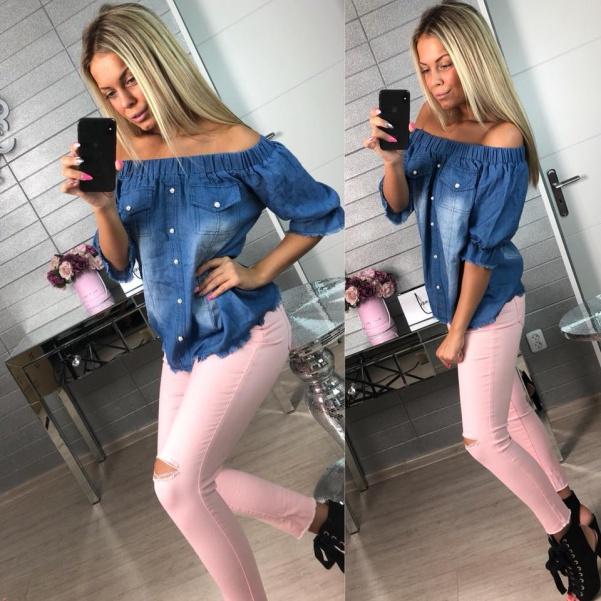 TOP jeans halenka tmavá