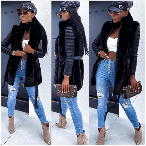 Luxusní vesta s páskem a zipem - Black