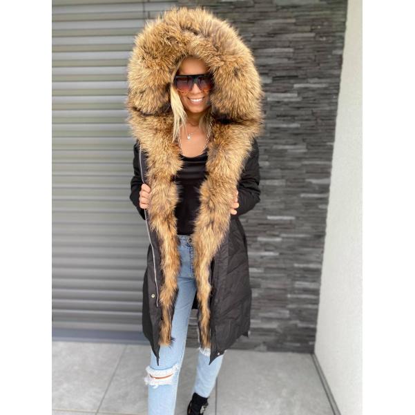 Luxusní péřový kabátek s mega natur kožichem