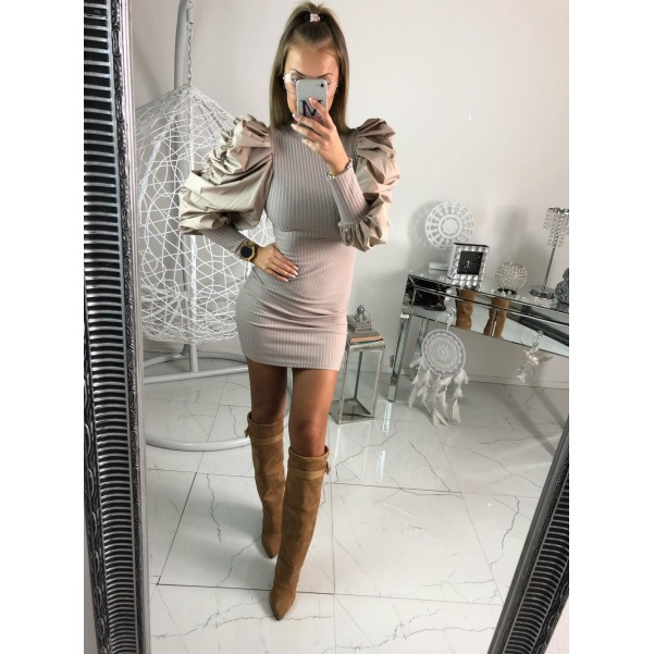 Slim šaty Bella - béžové