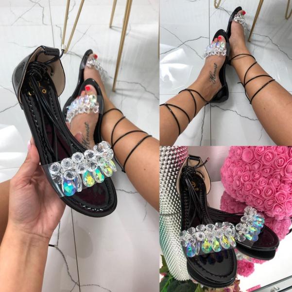 TOP sandálky na vázání - black