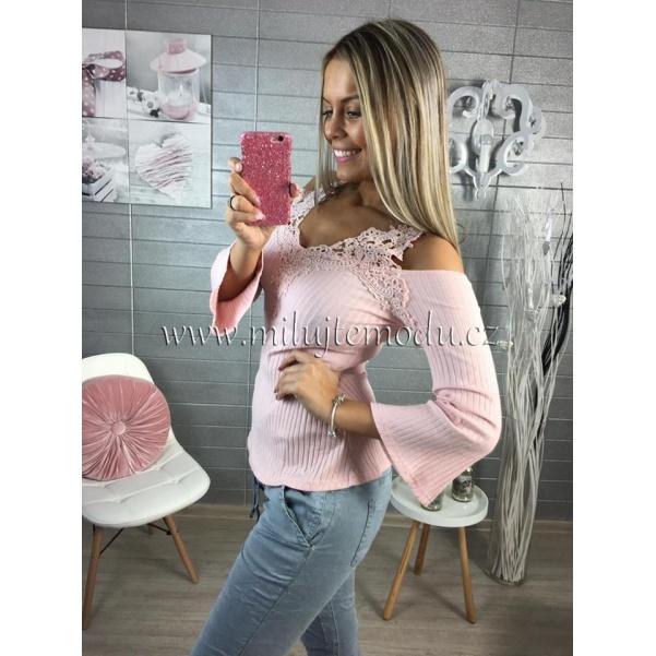 Pink tričko s krajkou
