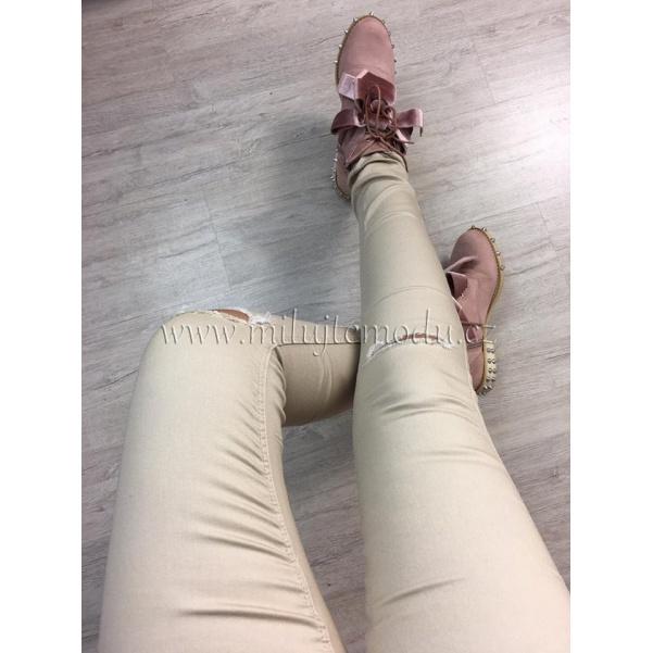 Slim béžové kalhoty s trháním