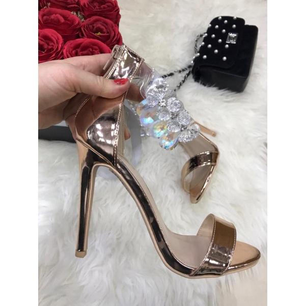 Luxusní botičky na podpatku s užasným zdobením- růžovozlatá