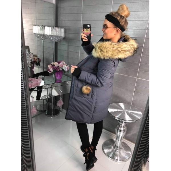 Zimní bundička s bohatým kožíškem- GREY