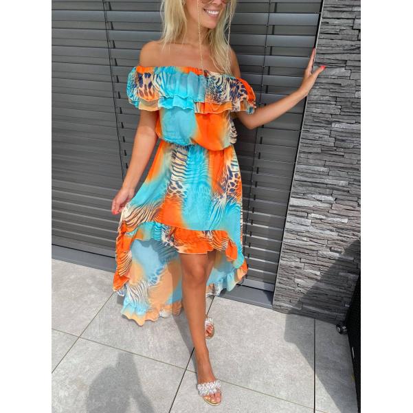 Šaty s volánkem - Safari orange