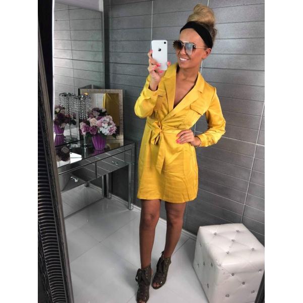 Saténové luxusní šaty s vázanim - žlutá