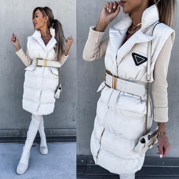 Dokonalá vesta s krásným páskem  De Luxe white