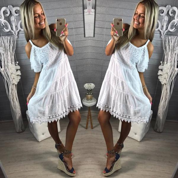 Krajkové luxusní šaty na ramínka - bílá