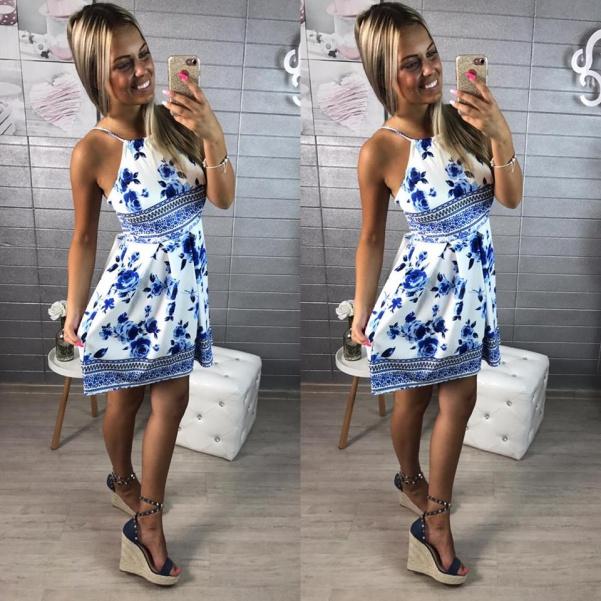 Super květinkové šatičky  - modré