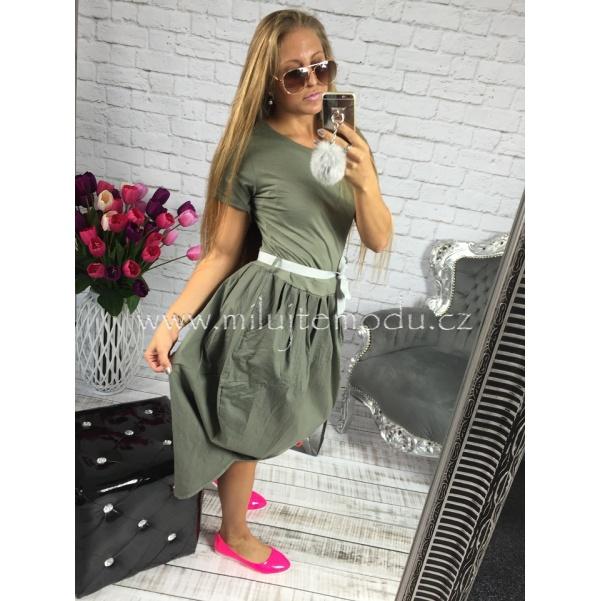 Khaki balonové šaty