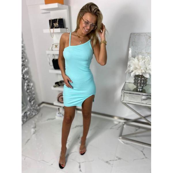 Slim šaty s rozparkem - mint