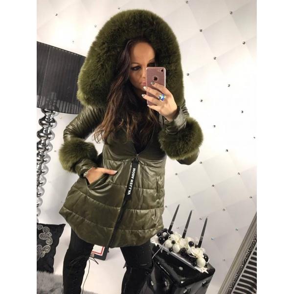 Eko khaki kabátek s kožešinkami
