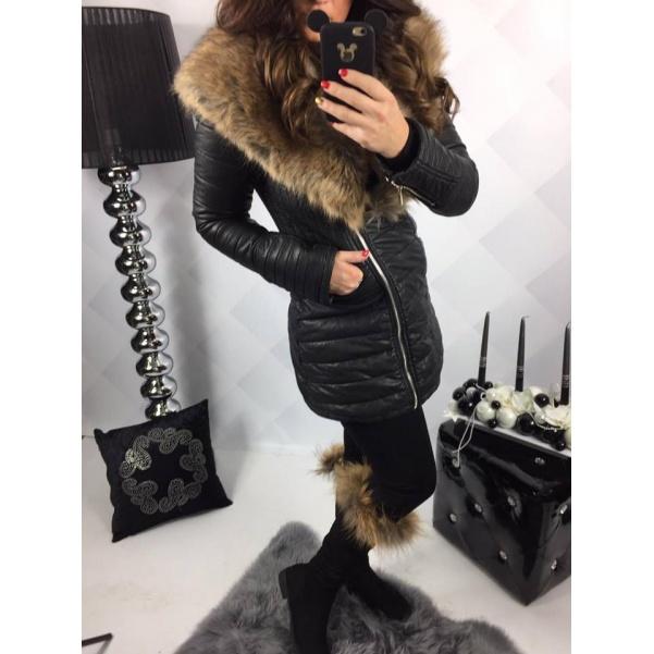Luxusní kožený kabátek s mega kožíškem