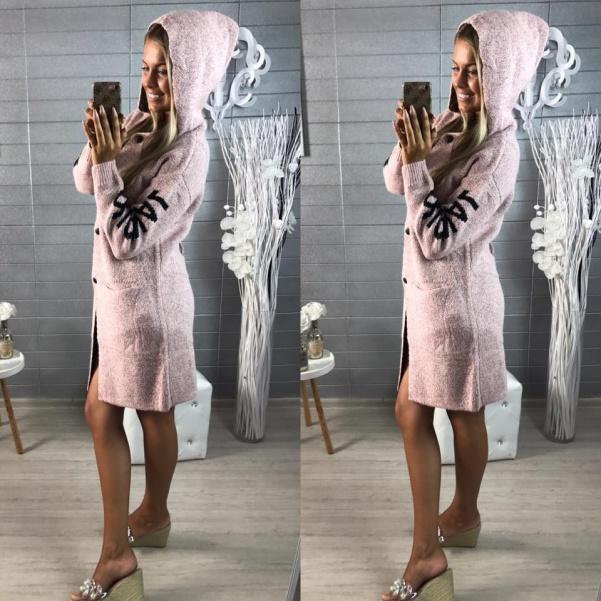 Kabátek s vázáním růžový