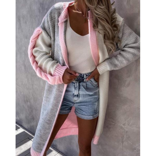 Luxusní svetr s copem růžový