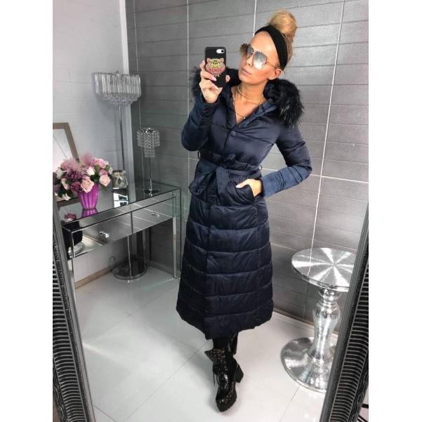Luxusní zimní kabátek -long blue