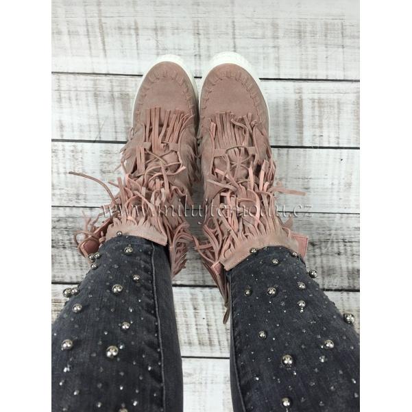 Luxusní růžové boty se střapcemi