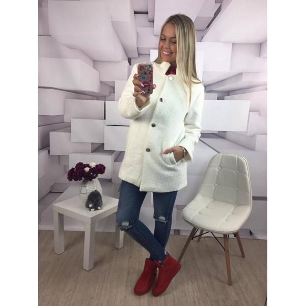 Bílý kabátek se zlatými knoflíky