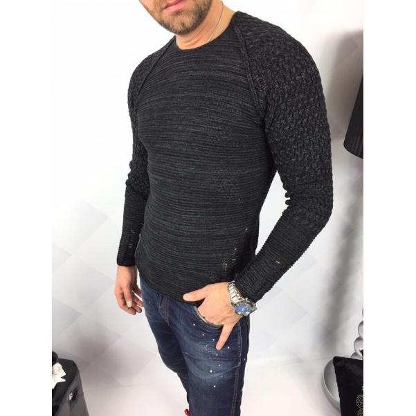 Šedý SLIM svetr s aplikací