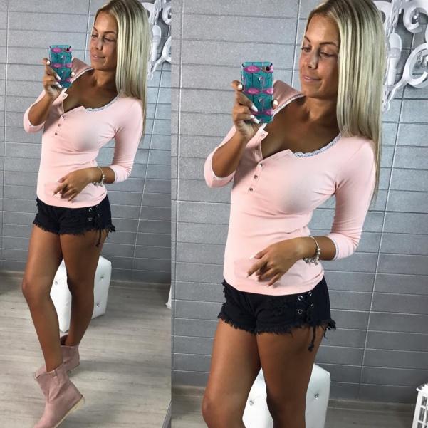 Tričko s krajkou růžové