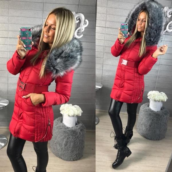 Luxusní vypasovaná bundička se zipy - RED