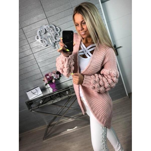 Pletený svetřík sv. růžový