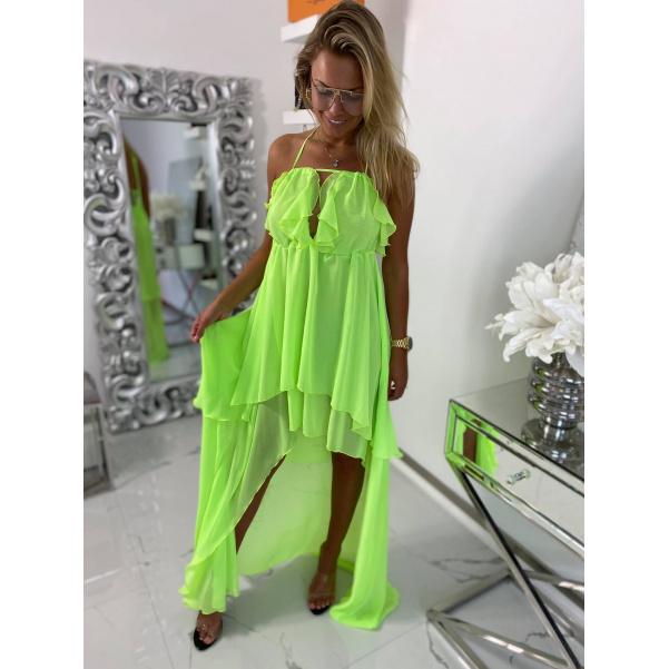 Dokonalé šaty - Colett neon zelené