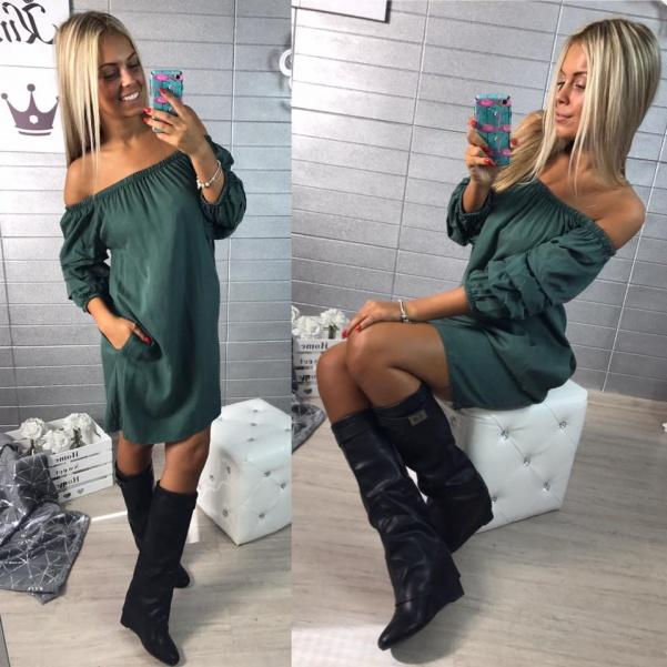 Zelené šatičky s nařasenými rukávy