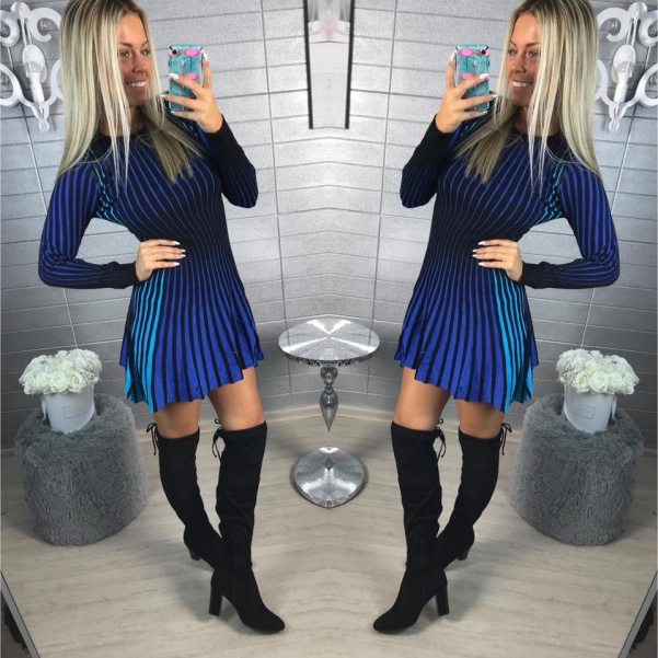 Pletené šatičky DUHA - modré