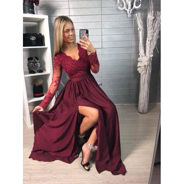 Luxusní šaty s krajkou - vínová
