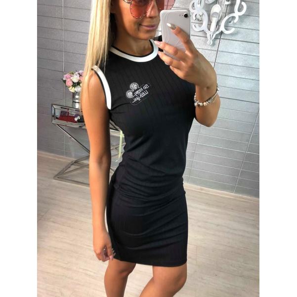 Elastické černé šaty s kamínky