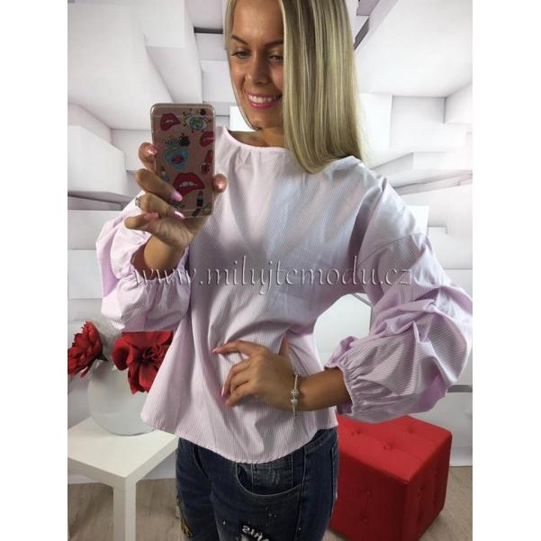 Růžová pruhovaná košile