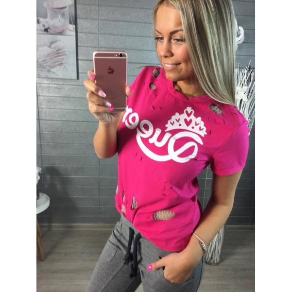 Tm. růžové tričko Queen