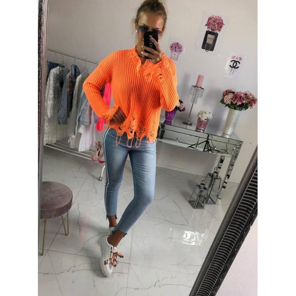 Trhaný svetr neon oranžový