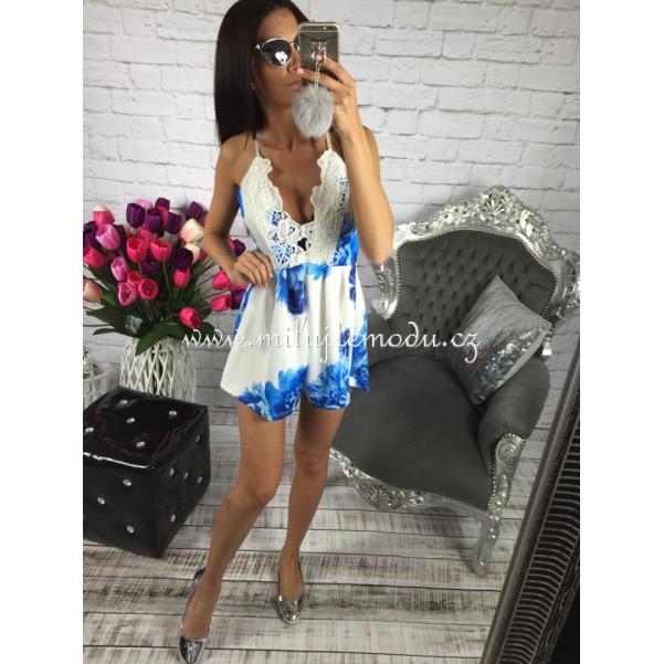 Luxusní modrý flower overal