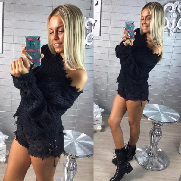 Trhaný BLACK svetr s vázáním