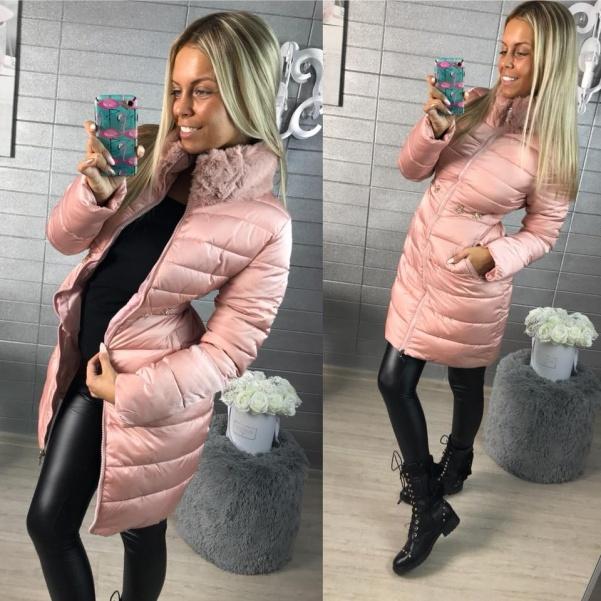 Luxusní vypasovaný kabátek s kožešinkou