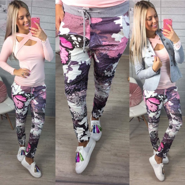 Super kalhoty s květinkami