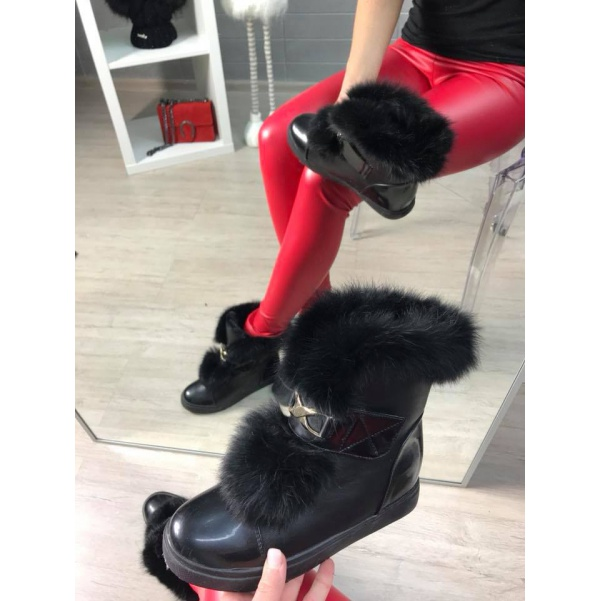 Vyteplené botičky Black
