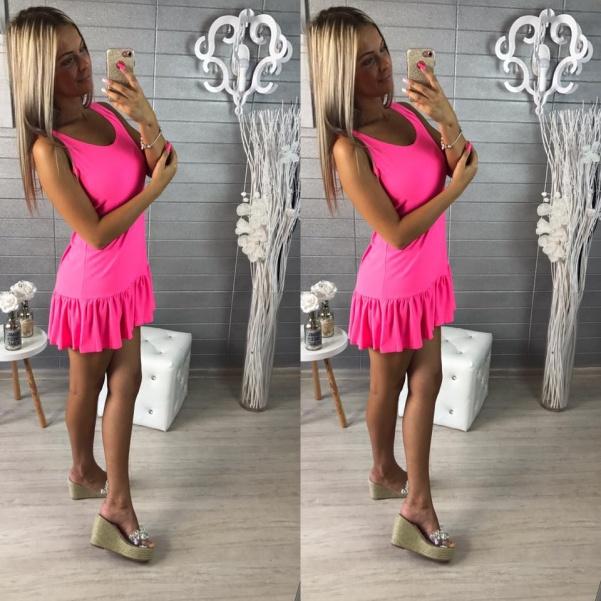 Elastické šaty s volánkem - pink
