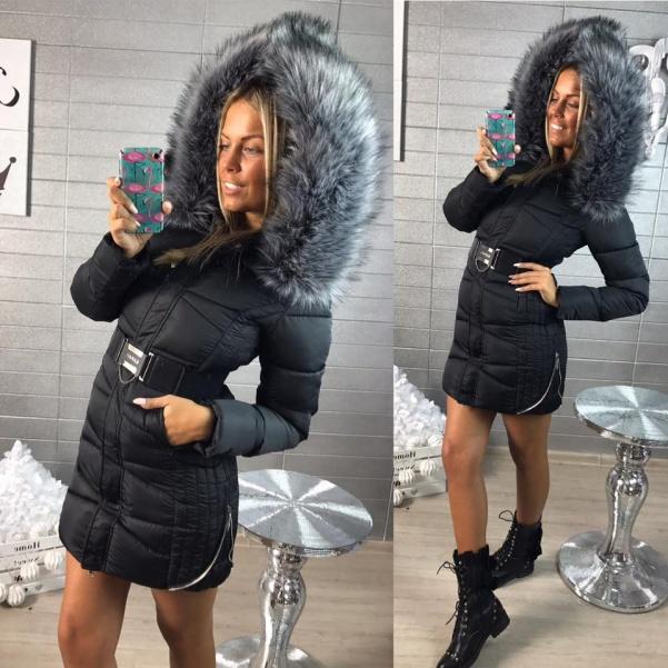 Černá bunda s páskem