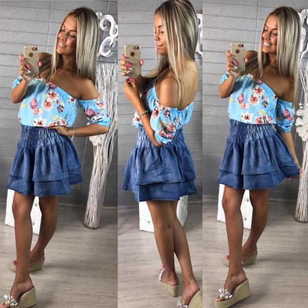 Volánková jeans suknička
