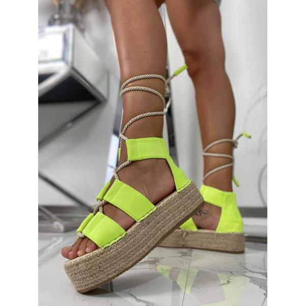 Neonové sandály - TOP YELLOW