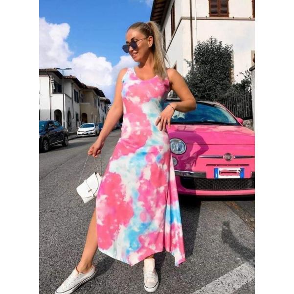 Dlouhé batikované šaty - růžové