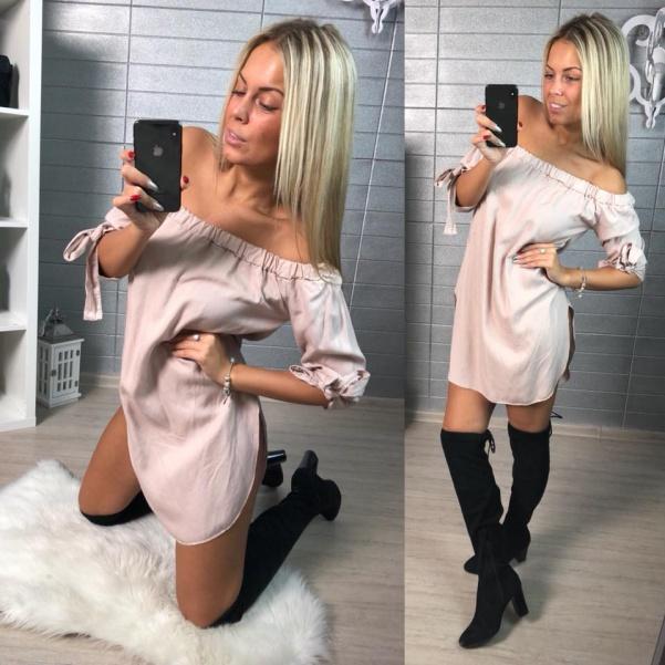 Béžová halenka - šaty